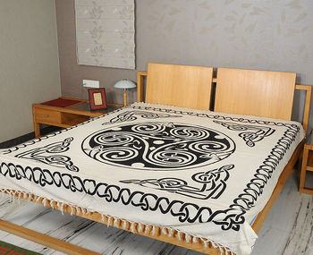 Vintage Trippy Bedsheet Indian Bed Sheets Block Printed Cotton Cover