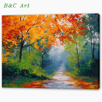 Hand Painted Beautiful Landscape Acrylic Fabric Painting Designs Scenery Art