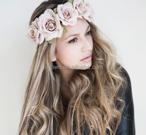 Daisy Flower Bridal Wedding Floral Hair Headband Crown Elastic