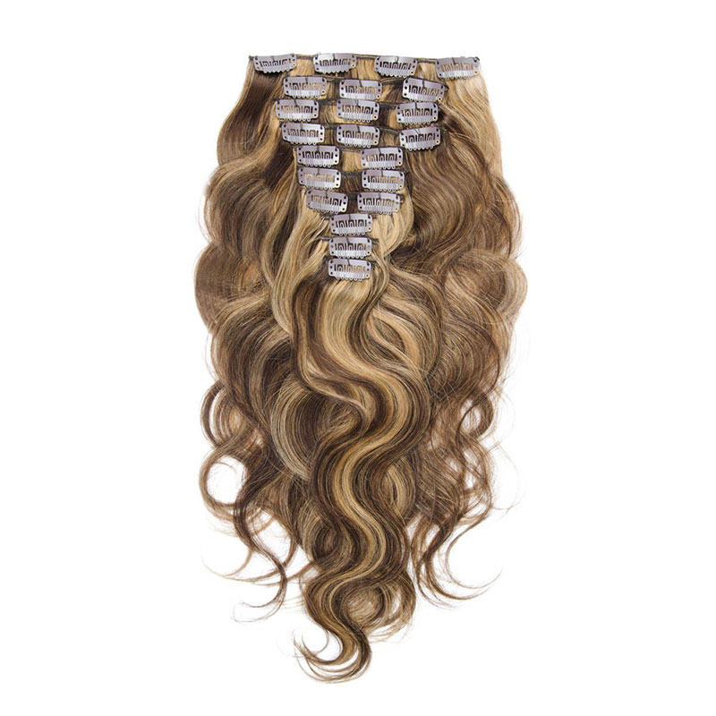Body Wave Remy Colored Clip In Hair Extensions For White Woman фото