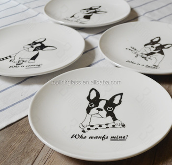 ceramic dishes plate  printing ceramic plates dishes with animal dog and bone image custom printed & Ceramic Dishes PlatePrinting Ceramic Plates Dishes With Animal Dog ...