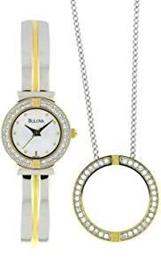 Bulova Women's 98X000 Swarovski Crystal Pendant Watch Boxed Set