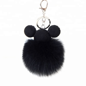 China wholesale Lovely fashion real fox fur pom pom keychain for girls handbag