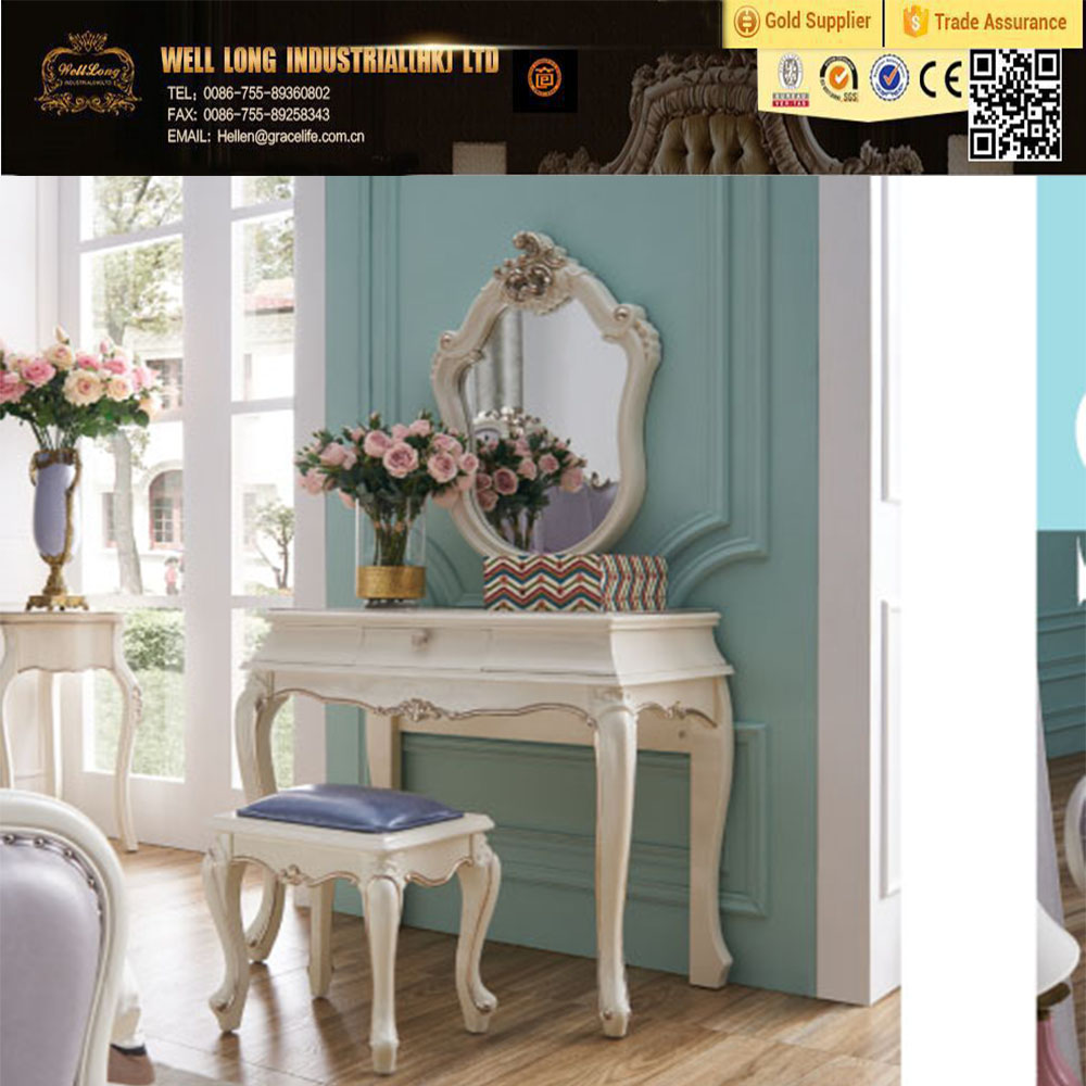 Elegant wedding bedroom furniture solid rubber wood dressing mirror and dressing table