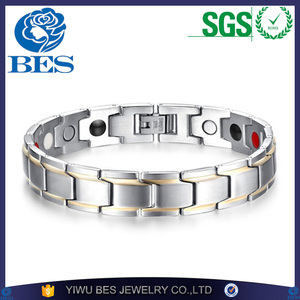 Luxury Fashion Health Energy Bracelet Bangle Men 316L Stainless Steel Bio Magnetic Bracelets Silver & Gold Plated Jewelry