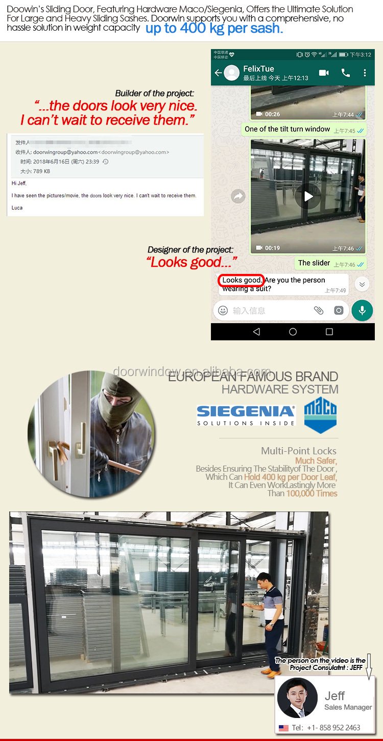 aluminium commercial automatic double glazed glass sliding glass doors
