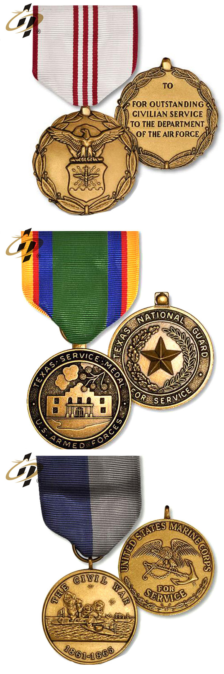 Wholesale antique gold custom military make your own metal medals