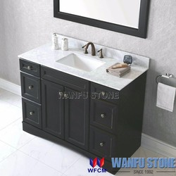 Hot sale solid wood bathroom cabinet Carrara White vanity top attached with undermount square sink