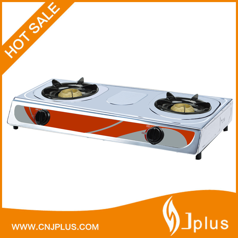 JP-GC206 Cast iron 2 burner stainless steel panel gas stove in south africa
