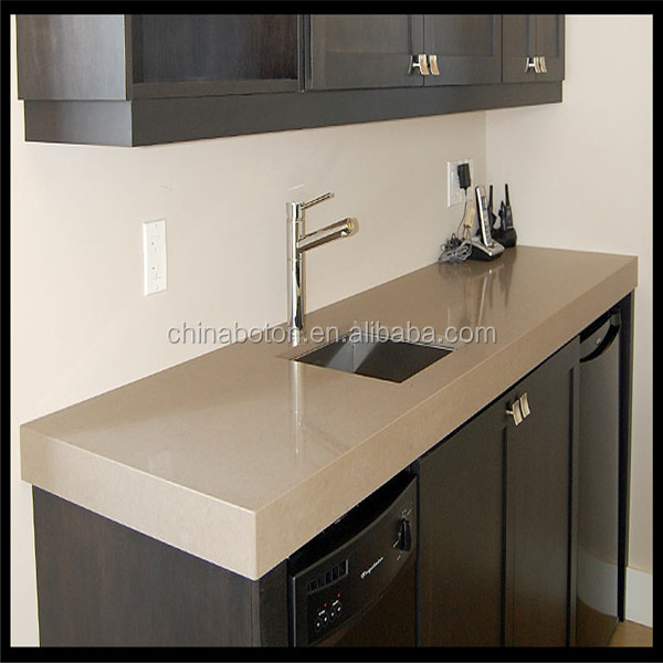 Artificial Quartz Stone Grey Slabs kitchen top with experienced skill