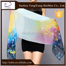 Customize digital printed 100% silk scarves long chiffon scarf NO MOQ
