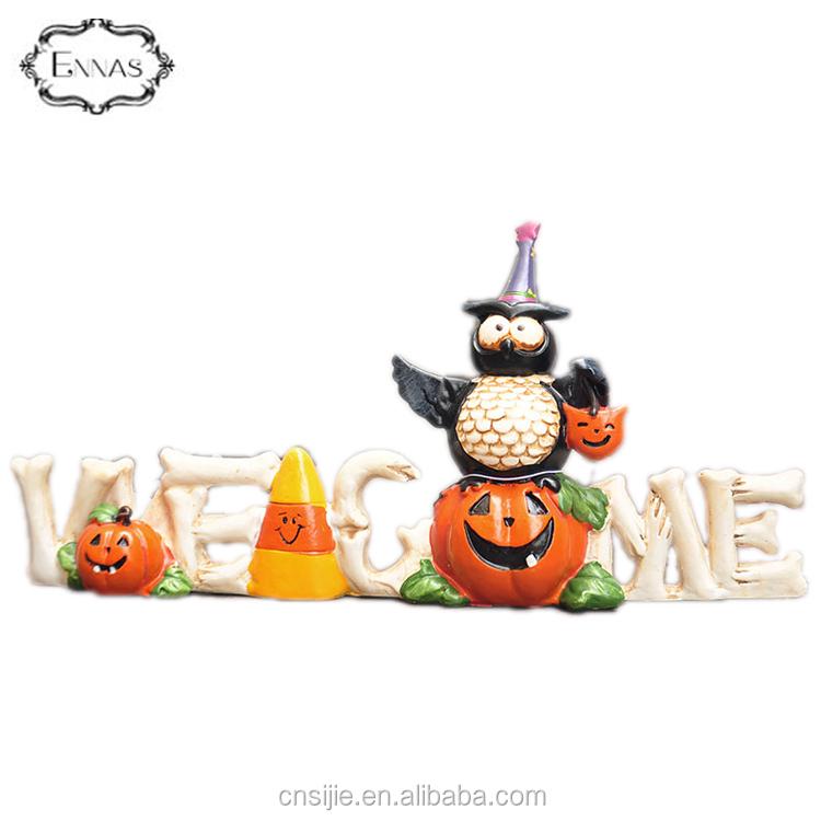 "Resin Owl Halloween Decoration Wizard Pumpkin figurine with ""Welcome"""