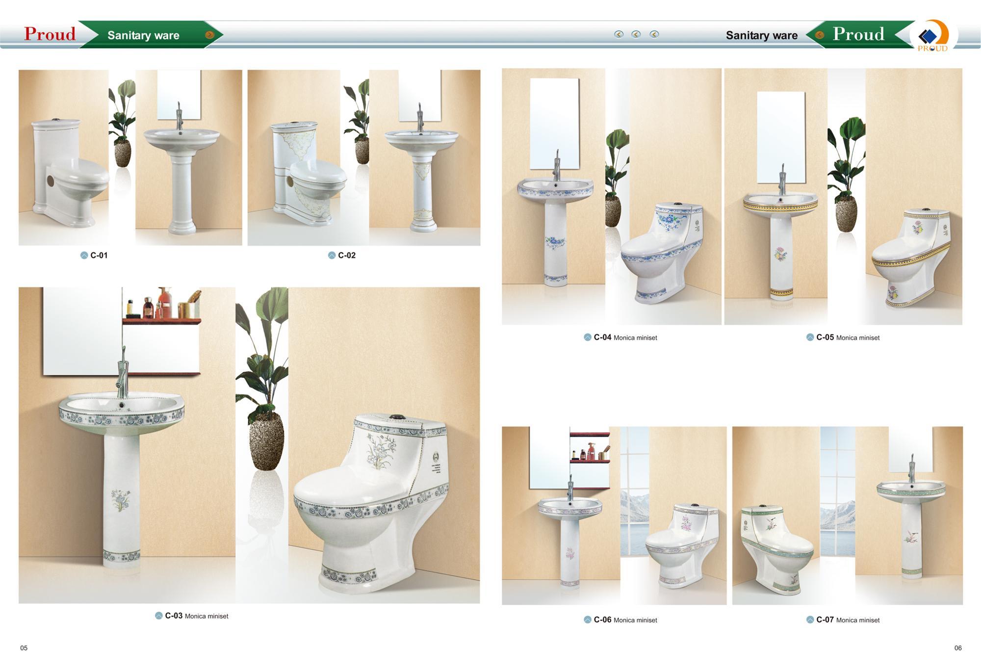 Arabe Design Porcelaine Wc Ensemble De Toilette Avec Lavabo Et Bidet