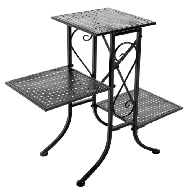 Ruimei 3 Tier Black Metal Scrollwork Design Planter Display Stand / Plant Pot Shelf Rack with Perforated Shelves