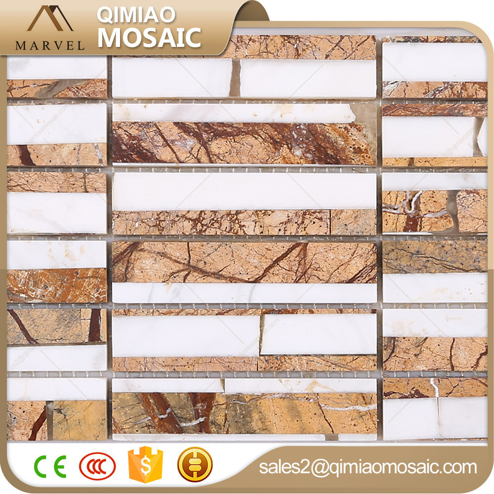 2016 New Wall Decoration Long Strip Yellow And White Mactan Stone