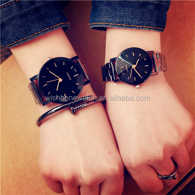3805 Fashion Brand Couple  Watches Casual Black Round Dial Stainless Steel Band Quartz Wrist Watch Mens Gifts Relogio Feminino