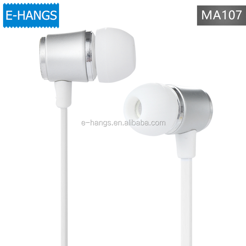 Simple Stylish Metal Earphone E-HANGS MA107 3.5mm +mic For Mobile Phone iPhone MP3 MP4 Tablet PC Laptop