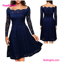 Elegant Women Long Sleeve Mesh Romantic Night Floral And Lace Dress