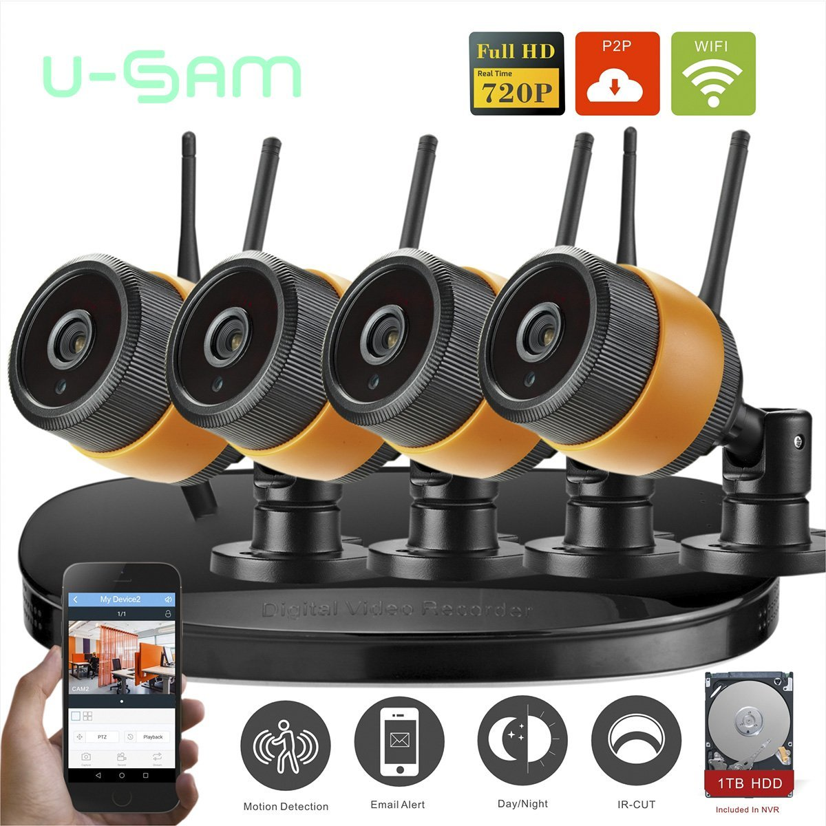 b6a48a7b7ee Get Quotations · U-SAM NVR WIFI CCTV System 4ch Wireless IP Camera HD 720P  Outdoor  Indoor