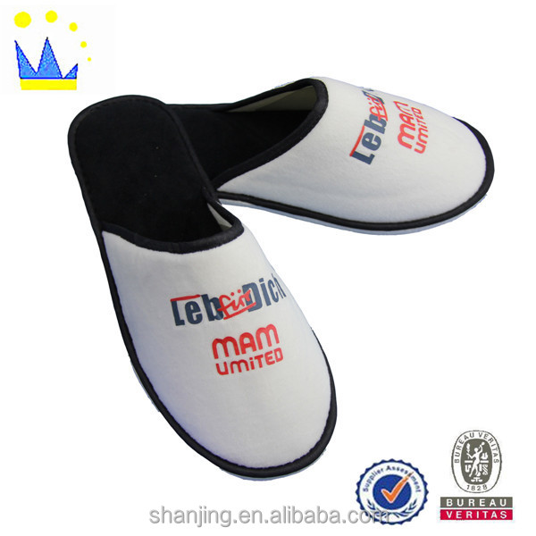 white printing promotion cheaper velour eva hotel slipper