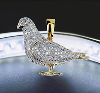 Guang zhou king jewelry lab made diamond iced out gold pigeon pendant men