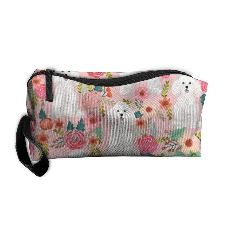 Bichon Frise Fabric Flowers Cosmetic Makeup Bag,Toiletry Wash Organizer,Makeup Case Pouch,Makeup Organizer Bag With Zipper,Small Zipper Makeup Pouch,Traveller Hanging Toiletry Bag,Cute Graphic Pouch,