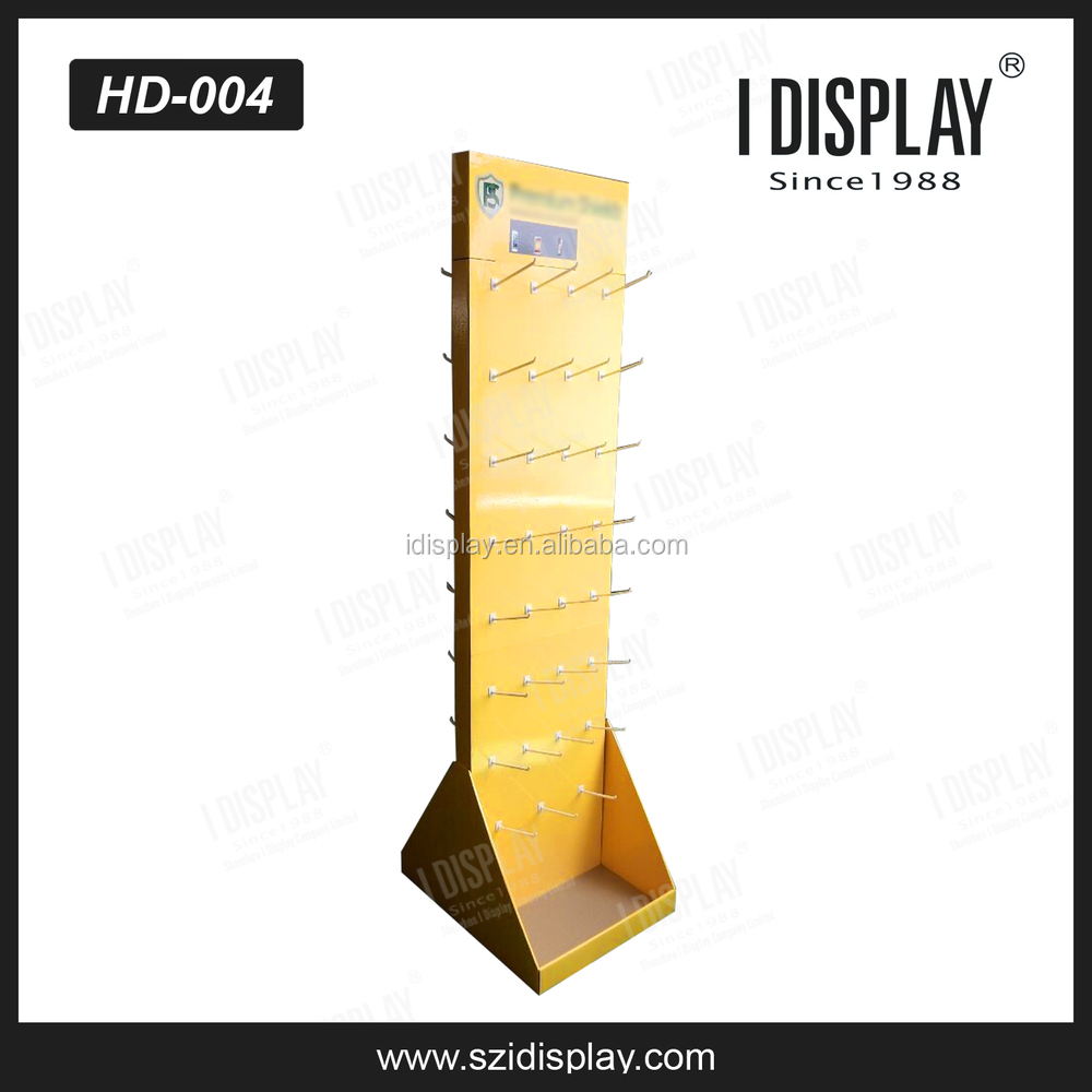 cardboard hanging stand display with peg hooks for hair extensions