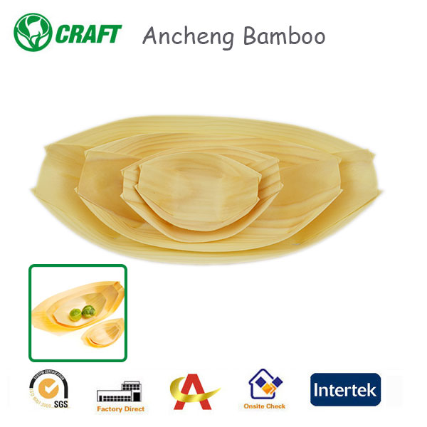 Disposable Tableware Bamboo Plates Wooden Food Boat