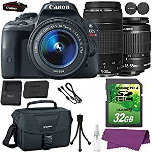 Canon EOS Rebel SL1 DSLR Camera with Canon EF-S 18-55mm IS Lens + Canon EF 75-300mm III Lens + 32GB SD Memory Card + Canon Bag + Cleaning Kit