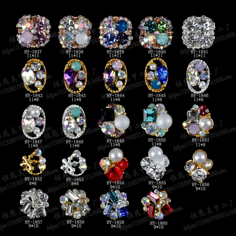 Sparkling zircon rhinestone crystal 3d nail art jewelry wholesale