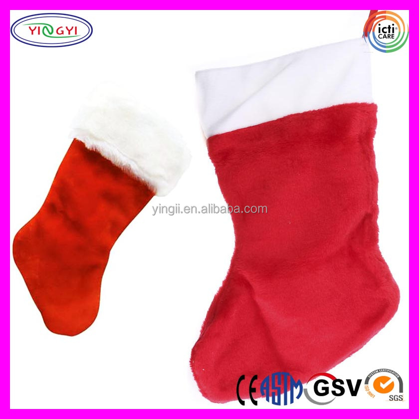 A621 Red and White Holiday Stocking Soft Plush Promotional Stuffed Christmas Stockings
