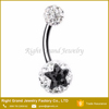 Surgical Steel White Black Crystal Star Dotted Disco Ball Shamballa Navel Belly Ring