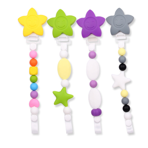Custom BPA Free Silicone Beads Clip Baby Teething Pacifier