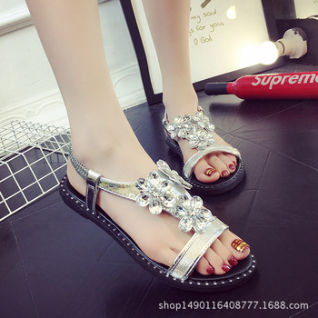 48ee396f1aed Free Shipping Women Sandals 2017 Summer Casual Bohemia Flat Women Shoes New  Fashion Beach Sandals Solid