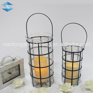 black couple hanging wrought iron wall candle holder lanterns