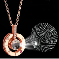 Rose Gold Silver 100 Languages I Love You Statement Necklace Love Memory Pendant Jewelry Necklace