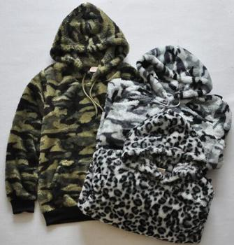 2020 spring Fashion womens and mens casual and comfortable camouflage/leopard print design sherpa fleece hoodies