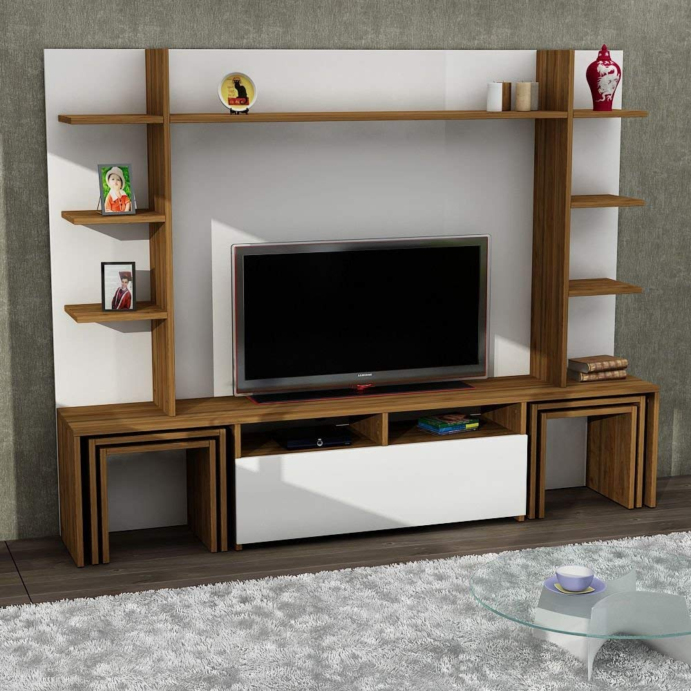 Tv Stand Unit White And Wooden Coloured