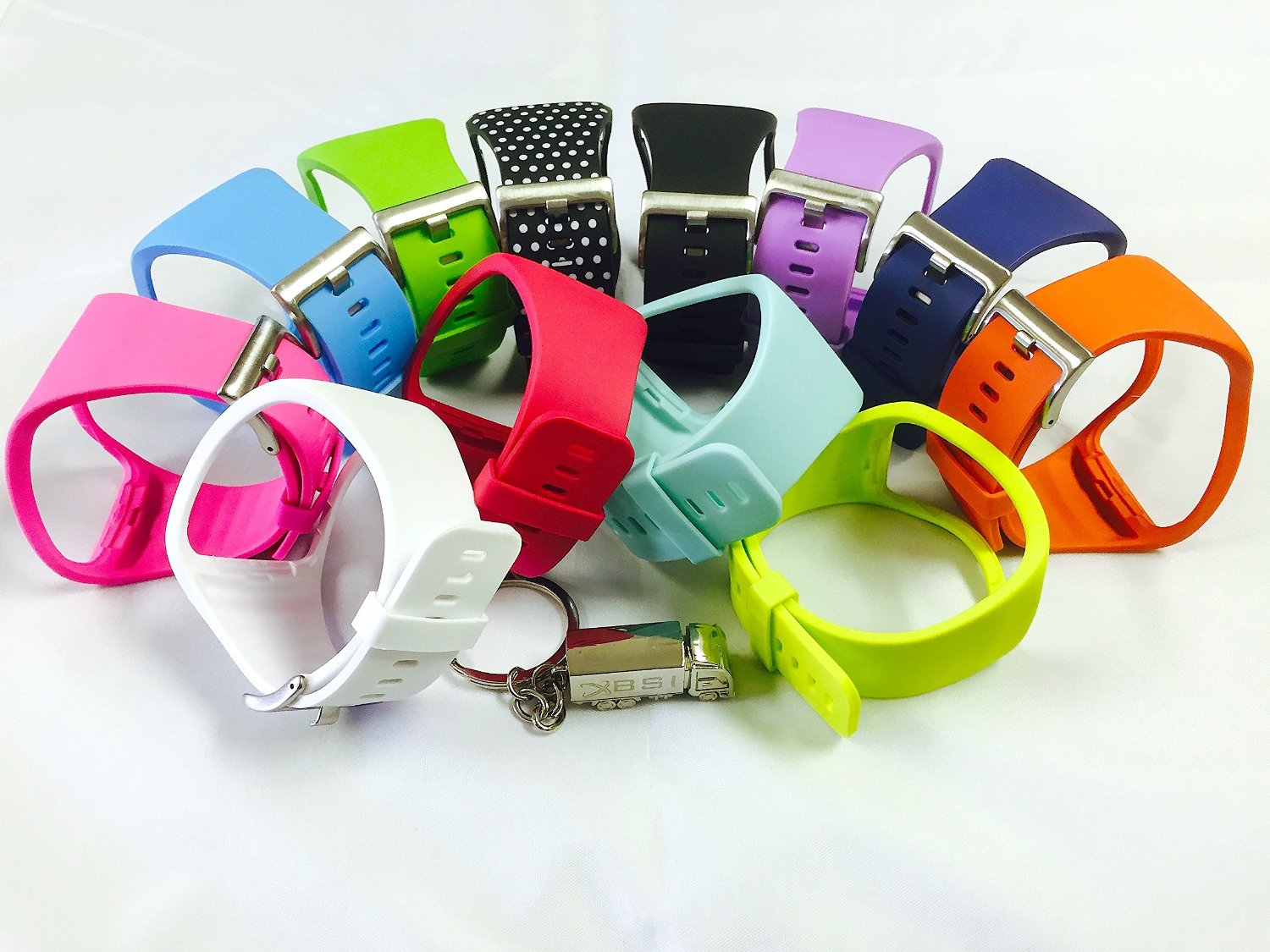 BSI Replacement Bands for Samsung Gear S Smart Watch, Set of 12 (White, Teal, Tangerine, Rose, Purple/Violet, Pink, Navy Blue, Lime Green, Light Blue, Citrus Yellow, Black and Black with White Dots)