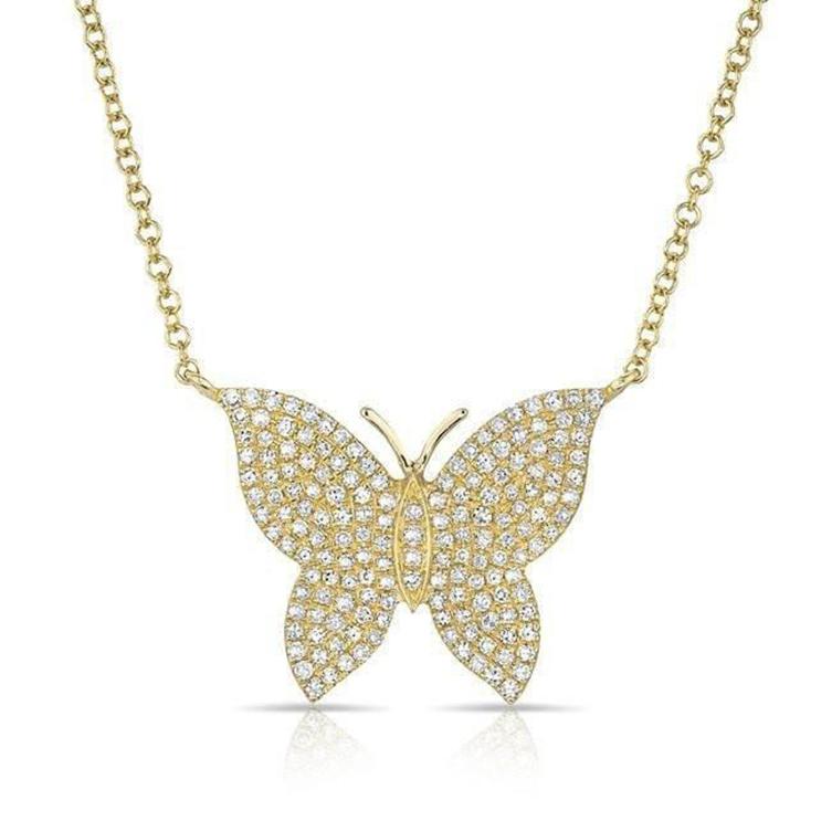 Gemnel dainty 925 bijoux en argent plaqué or papillon avec zircon grand collier