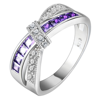 Hainon Cross rings for women green purple pink blue Platinum wedding ring silver jewelry