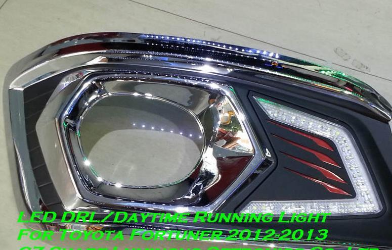 Высокое качество и Водонепроницаемый стиль 2В СИД автомобильное DRL дневные ходовые огни с противотуманные фары отверстие для Toyota Fortuner фортуна
