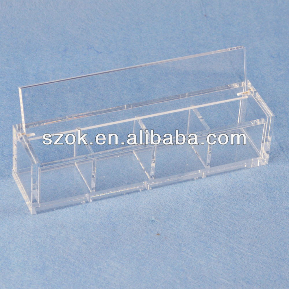 5 sides acrylic clear square compartment display box with lid