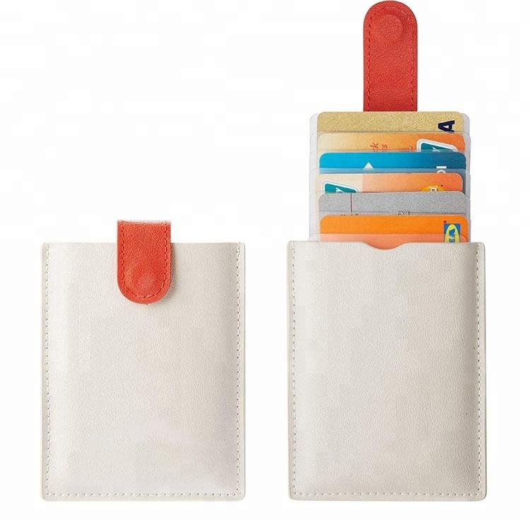 2018 ใหม่ล่าสุด RFID เรียบง่ายบางกระเป๋าหนังผู้ถือบัตรเครดิตสำหรับผู้ชายและผู้หญิงผู้ถือบัตรของขวัญ