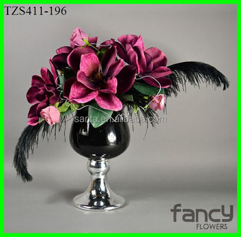 Artificial Magnolia Flower With Black Feather For Flower Arrangement