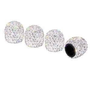 Air Valve Cap 4 Pack Handmade Crystal Rhinestone Universal Car Tire Valve Caps Chrome,Attractive Dustproof Bling Car Accessory