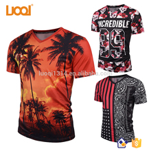 Customized V Neck 100% Polyester Sublimation Print T shirts In Bulk