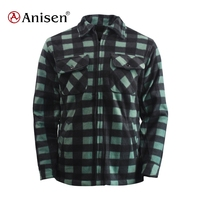 Lots stock men plaids polyester winter warm polar fleece double layer jacket