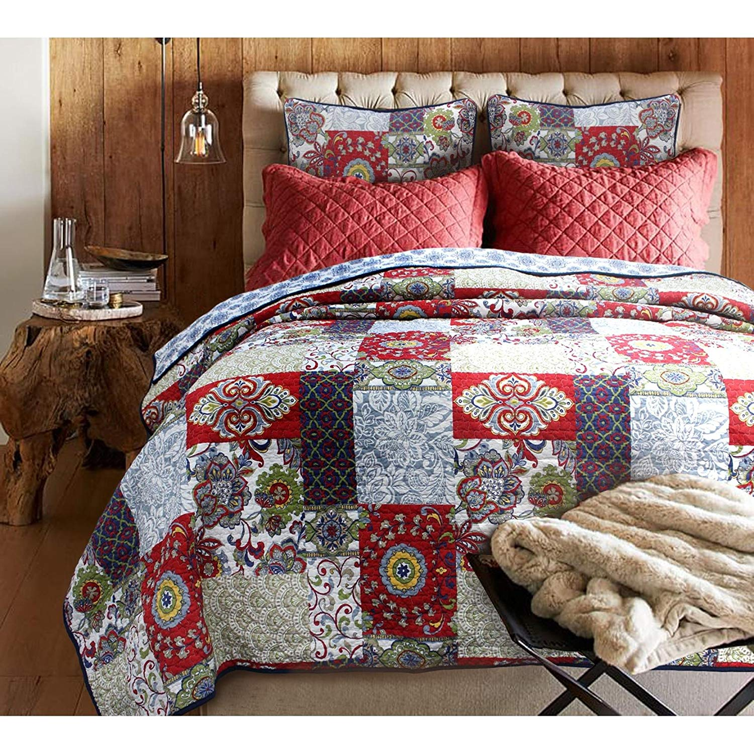 OSK 3 Piece Red Shabby Chic King Size Patchwork Quilt, White Blue Damask Country Floral, Green Trellis Paisley Pattern, Western Vintage Cottage Lake House Flowers Patch Work, Antique Country Cotton