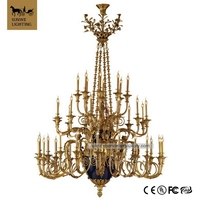 Traditional Rococo California Red 40 Lights Blue castle Angel Bronze ceramic old world chandeliers